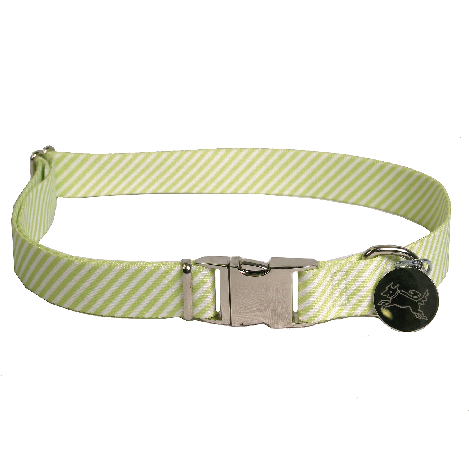 Southern Dawg: Seersucker Green Premium Dog Collar