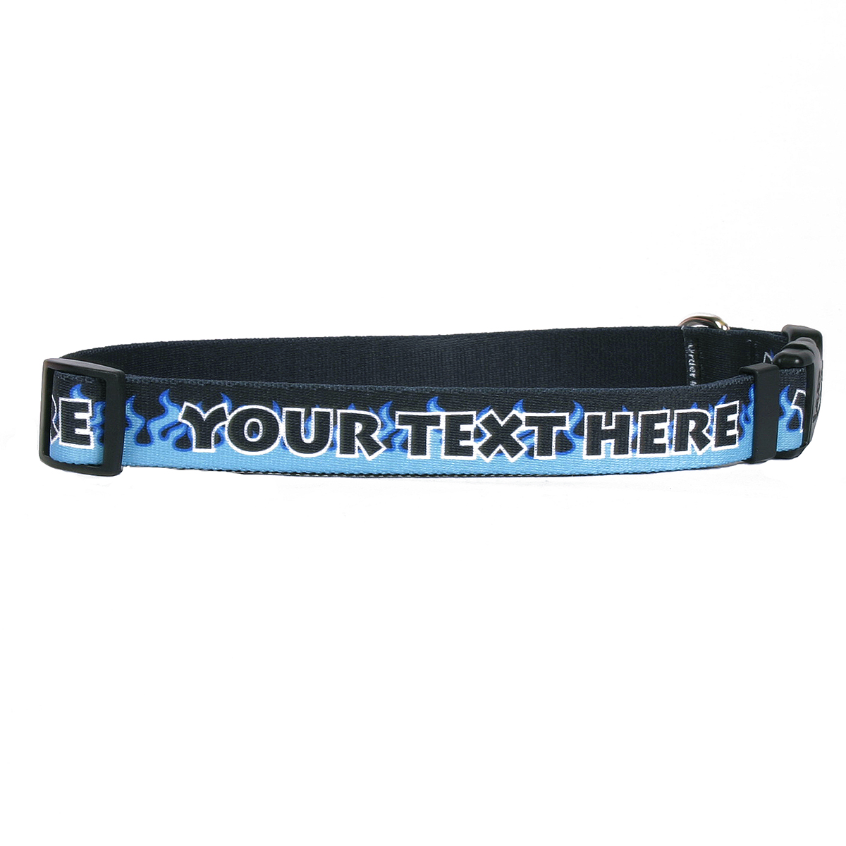 YDiD Personalized Blue Flames Dog Collar