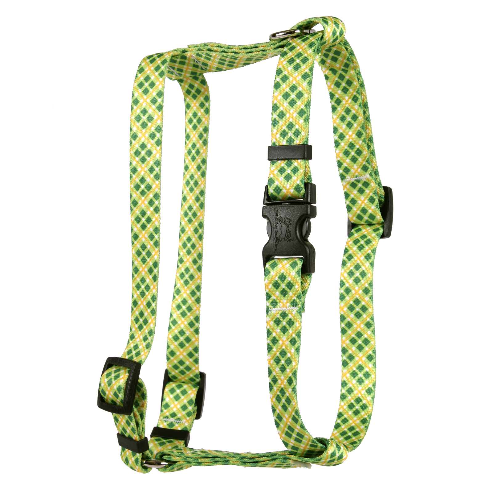 Yellow and Green Diagonal Plaid Roman H Harness