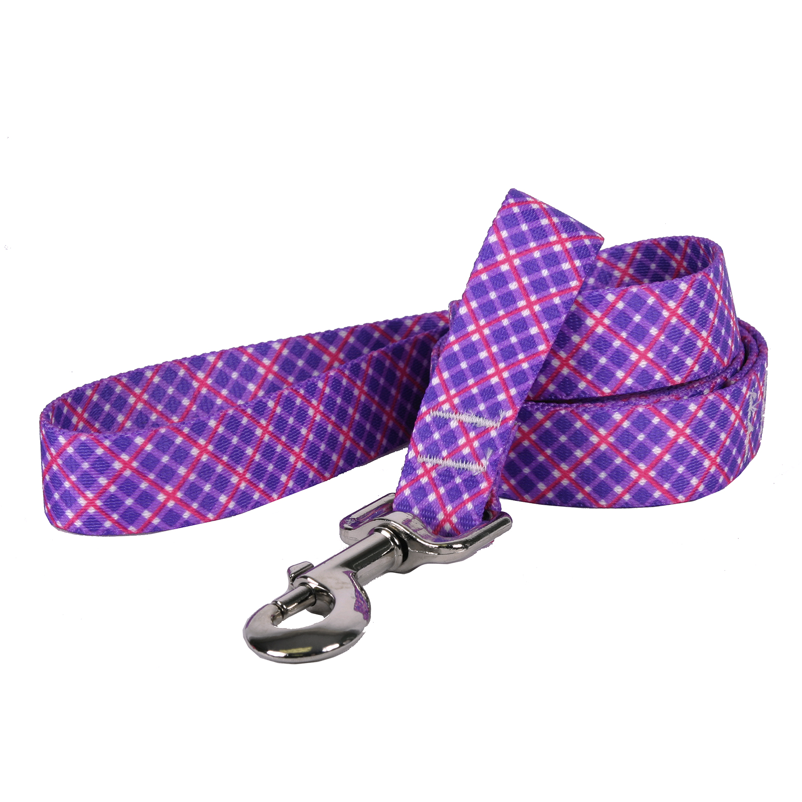 Purple and Pink Diagonal Plaid Lead