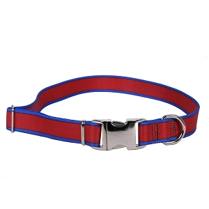 Sterling Stripes Collection Red and Royal Blue Dog Collar