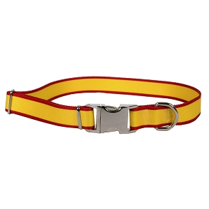 Sterling Stripes Collection Yellow and Red Dog Collar