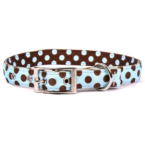 Blue and Brown Polka Dot Uptown Collar