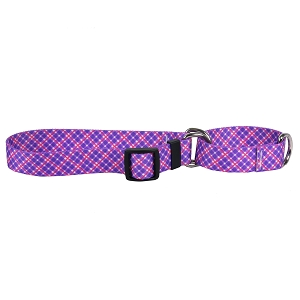 Purple and Pink Diagonal Plaid Martingale Collar